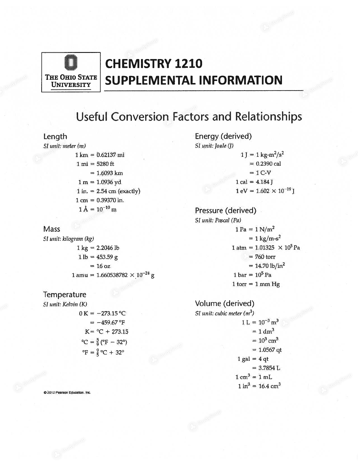 Osu Chemistry Periodic Table Class Notes Studysoup