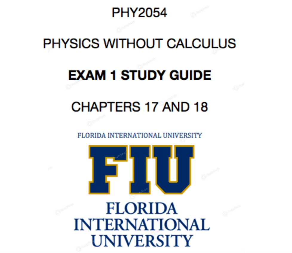 FIU - PHY 2054 - Study Guide - Midterm | StudySoup