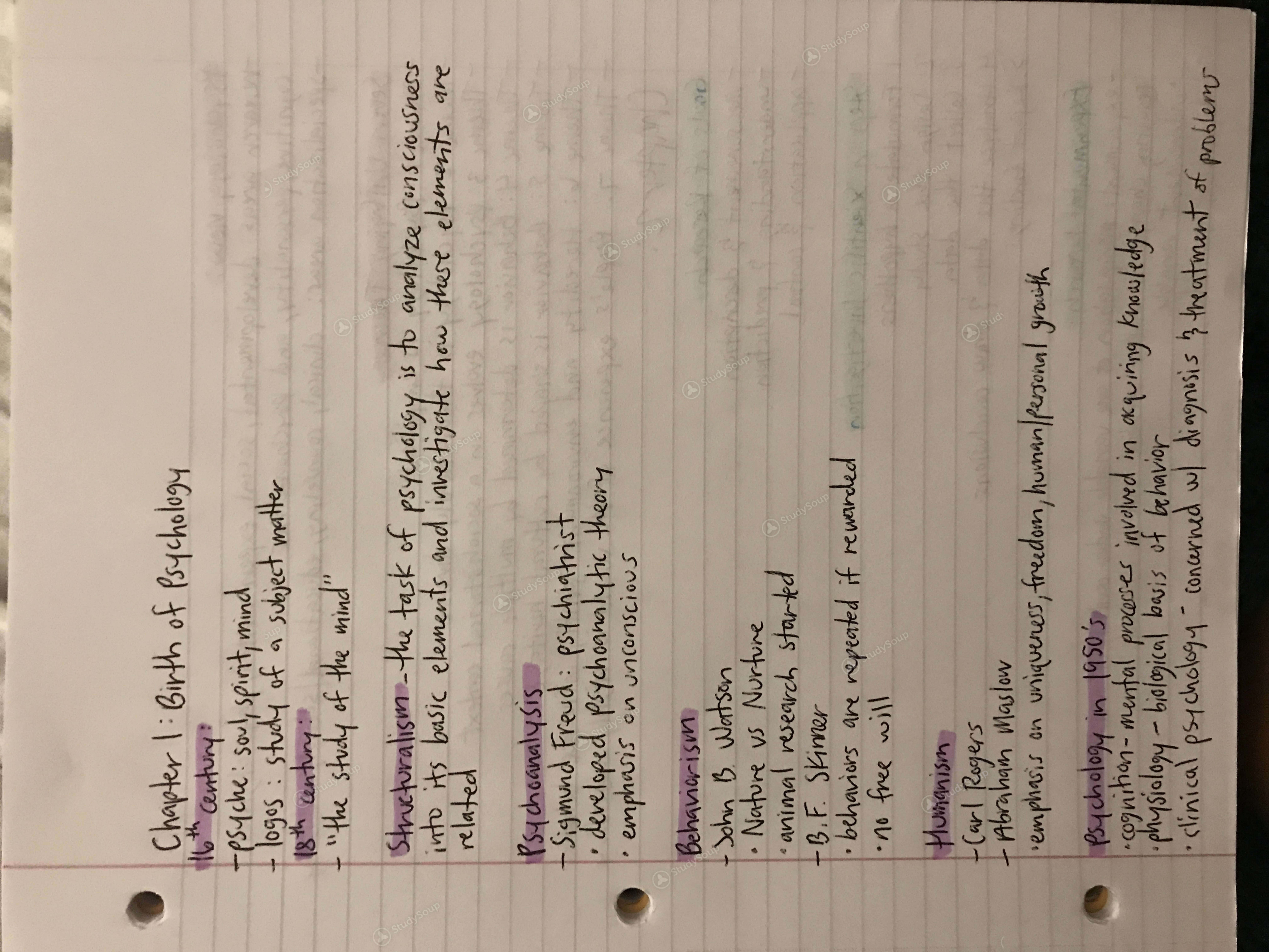UNLV - PSY 101 - Chapter 1 & Part one of Chapter 2 notes: PSY