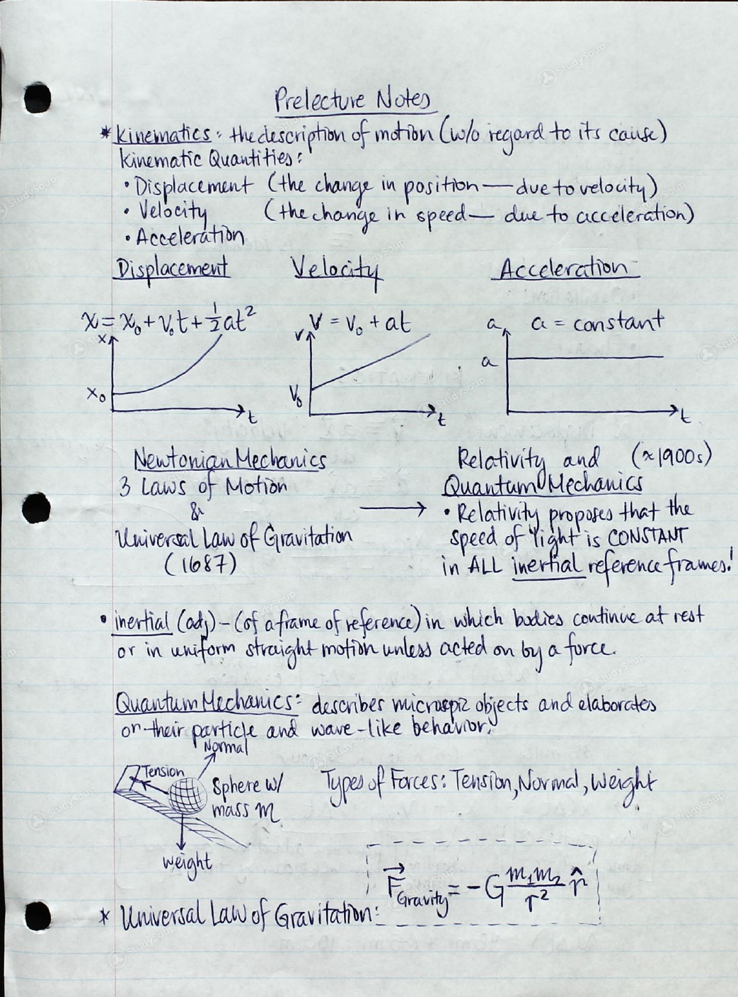 UCONN - PHYS 1501 - Study Guide - Midterm