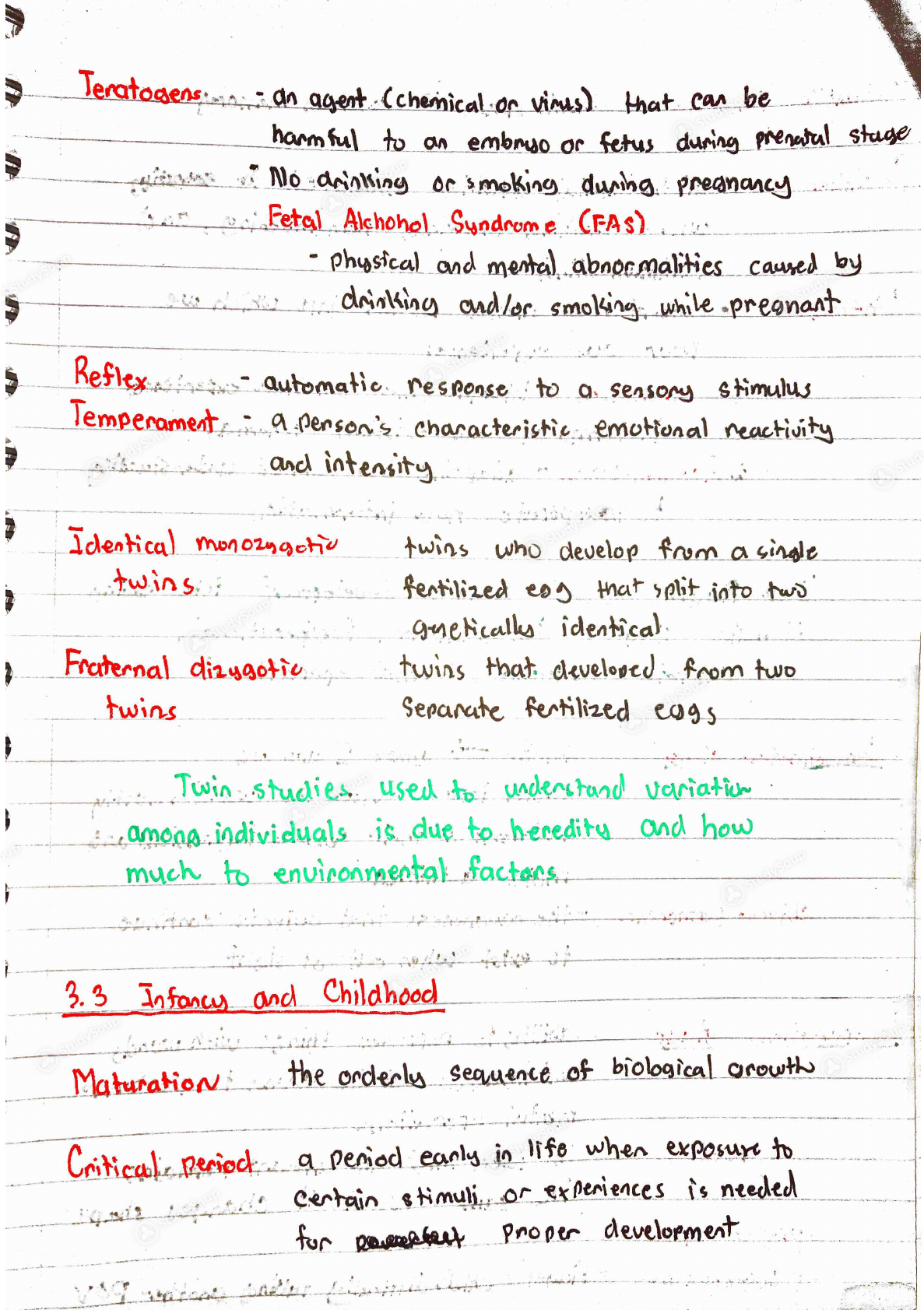 GSU - psychology 1101 - Intro to Psychology Chapter 3 Notes