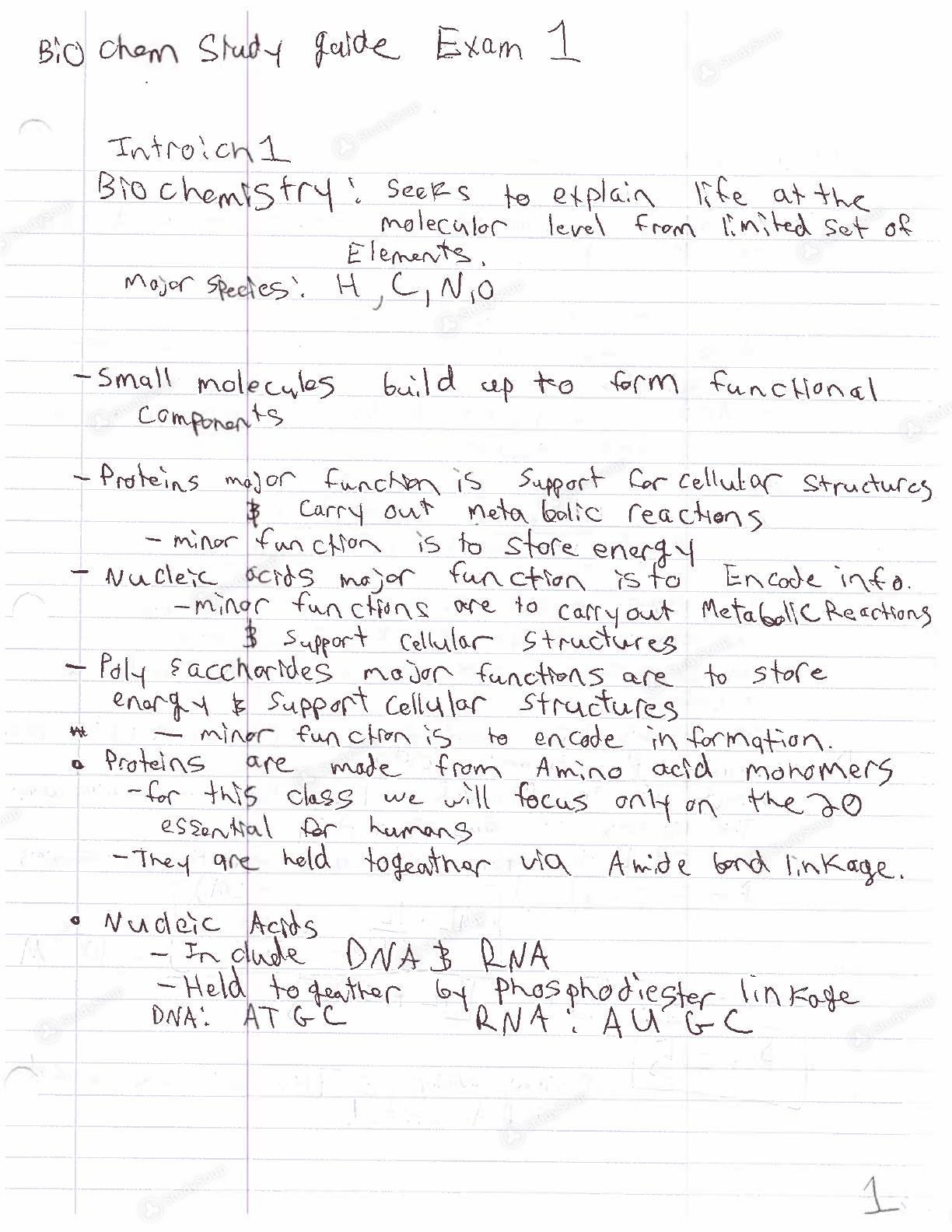 OSU - BIOCHEM 4511 - Study Guide - Midterm | StudySoup