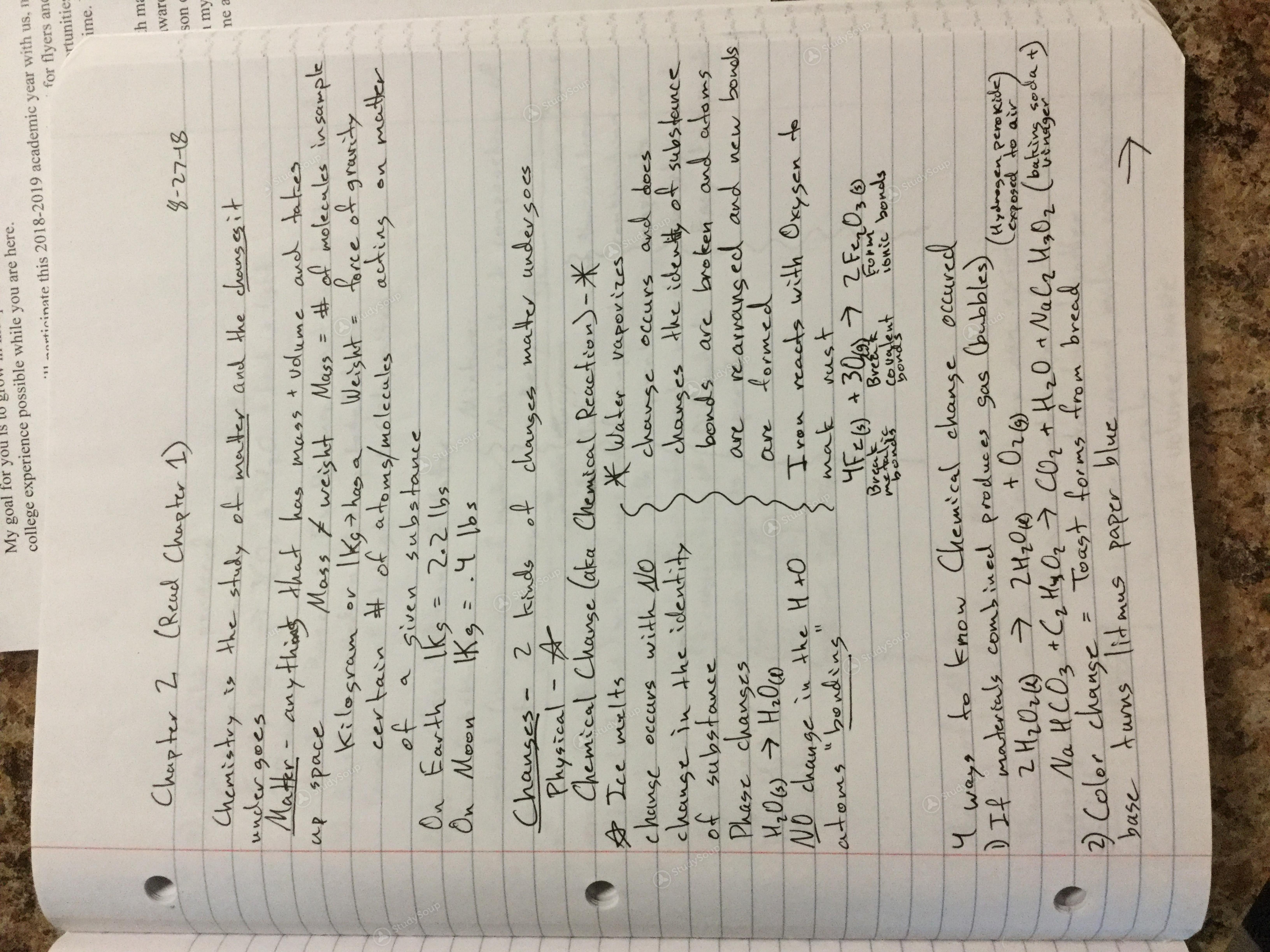 ETSU - CHEM 1030 - Class Notes - Week 1 | StudySoup