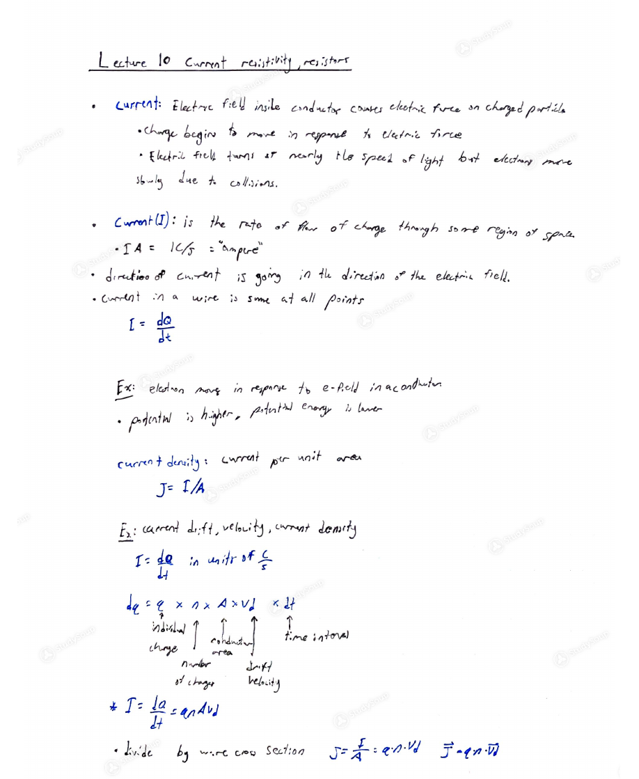 Asu Phy 131 Class Notes Week 5 Studysoup Related Image With Current Electricity Background Lecture To Resistivity Resistors